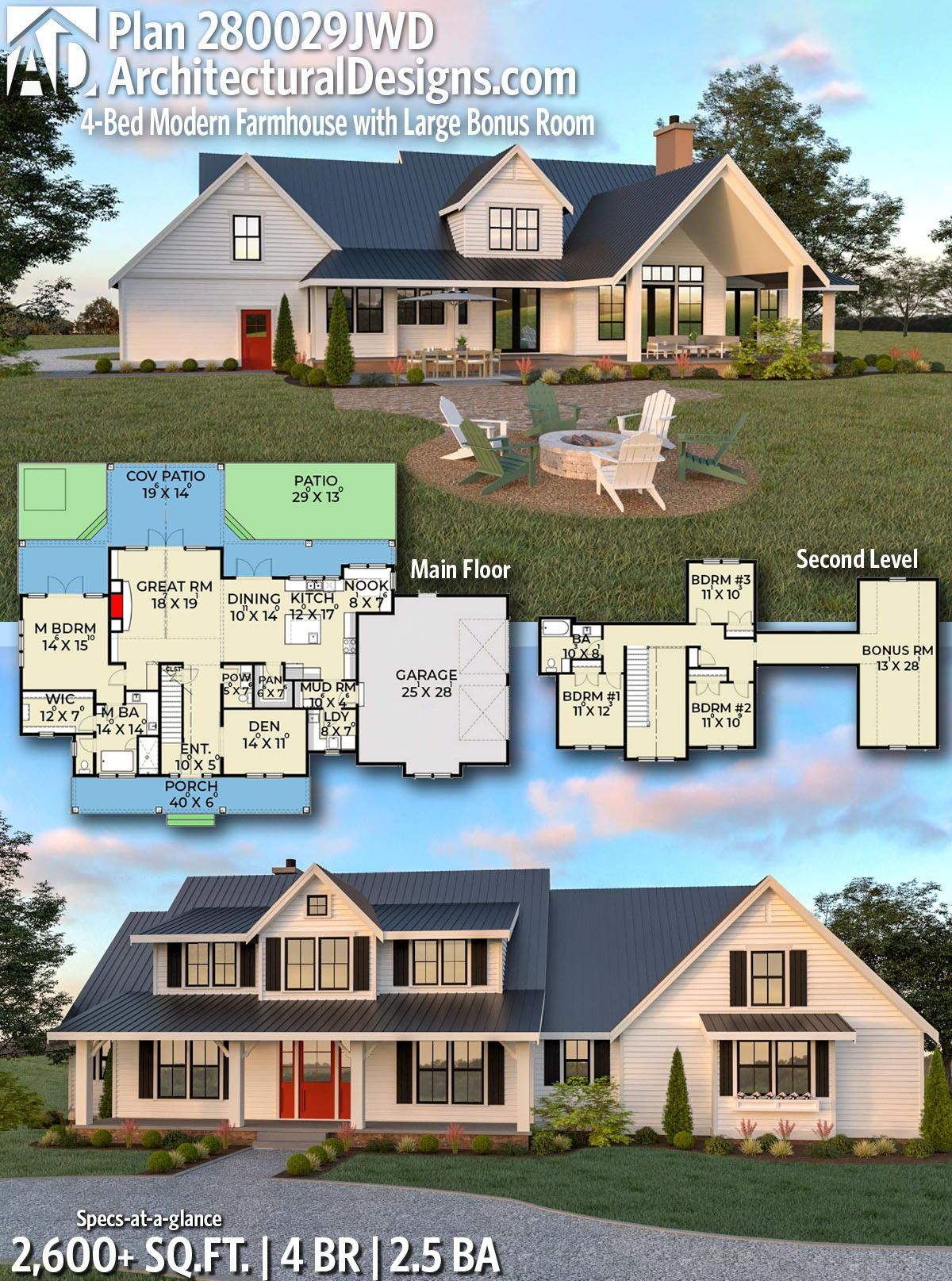 Plan 280029jwd 4 Bed Modern Farmhouse With Large Bonus Room In 2020 Dream House Plans Farmhouse Plans New House Plans