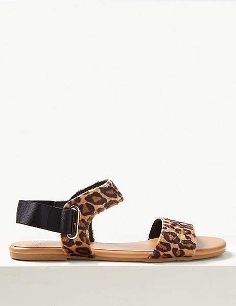 c6aef5ecca60 Marks and Spencer Ring Detail Animal Print Two Band Sandals ...