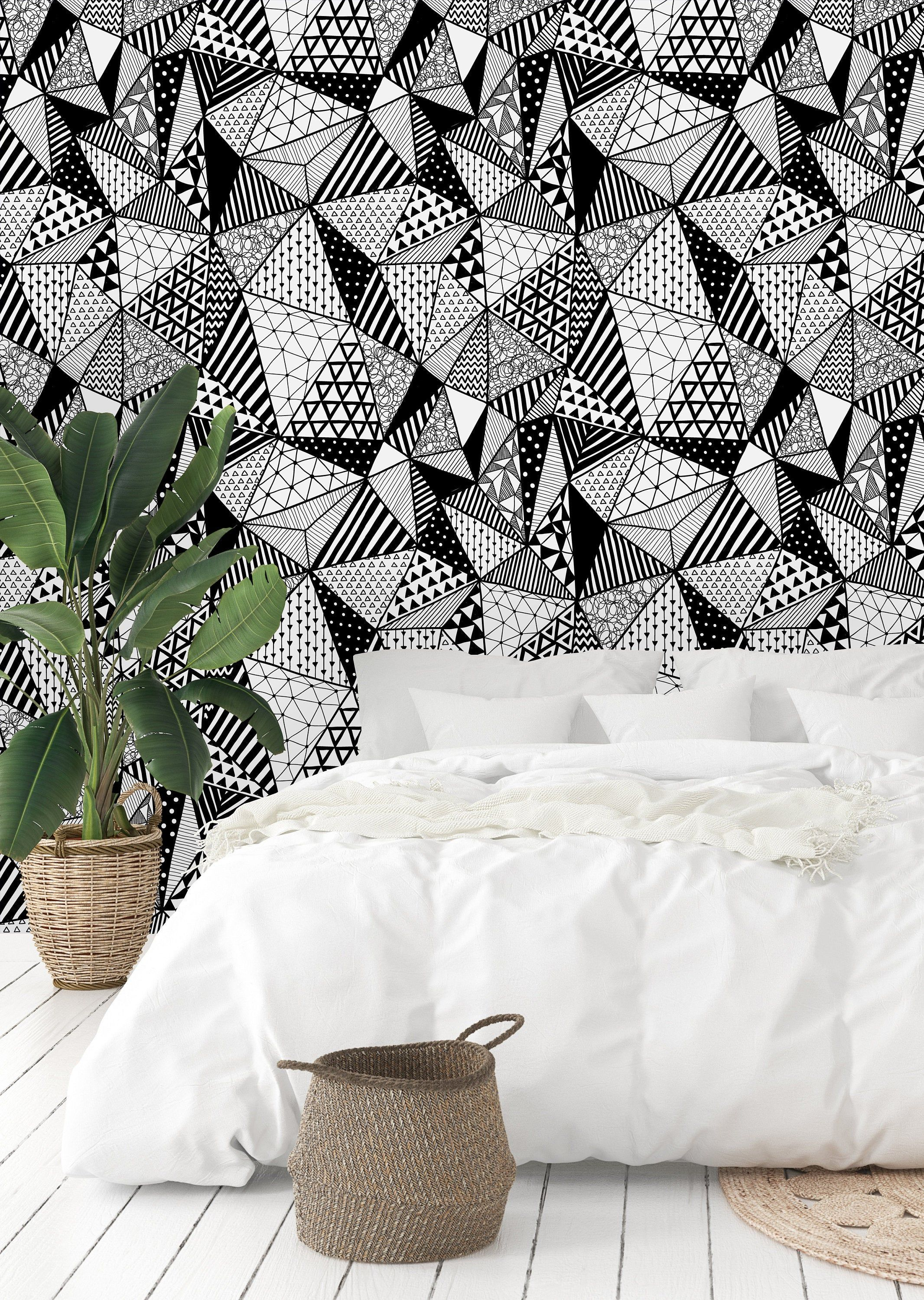 Black And White Geometric Shapes Removable Wallpaper Peel And Etsy Wall Murals Removable Wallpaper Wall Wallpaper