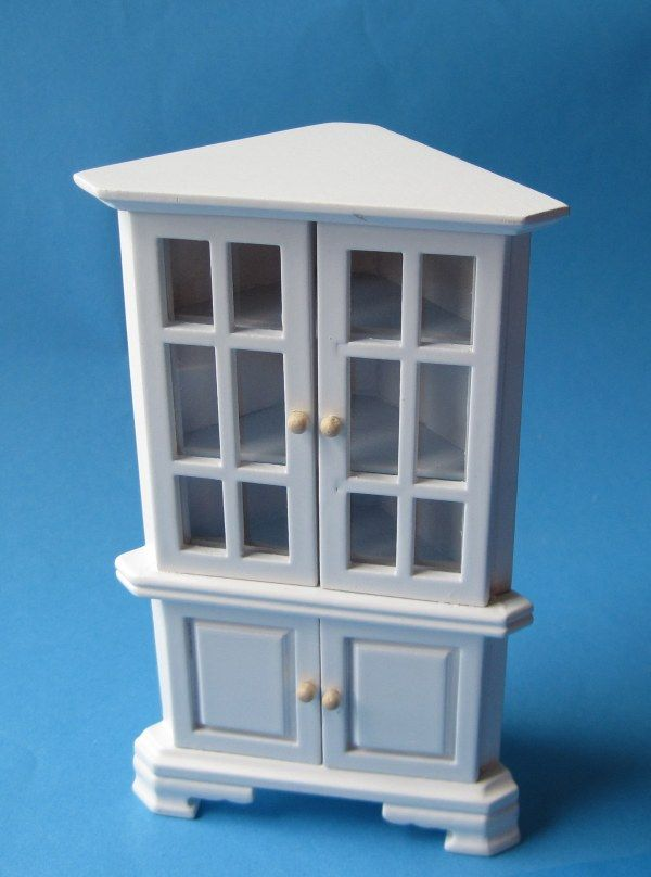 Vitrine Eckschrank Weiss Puppenhaus Mobel Fur Wohnzimmer Arbeitszimmer Miniatur 112