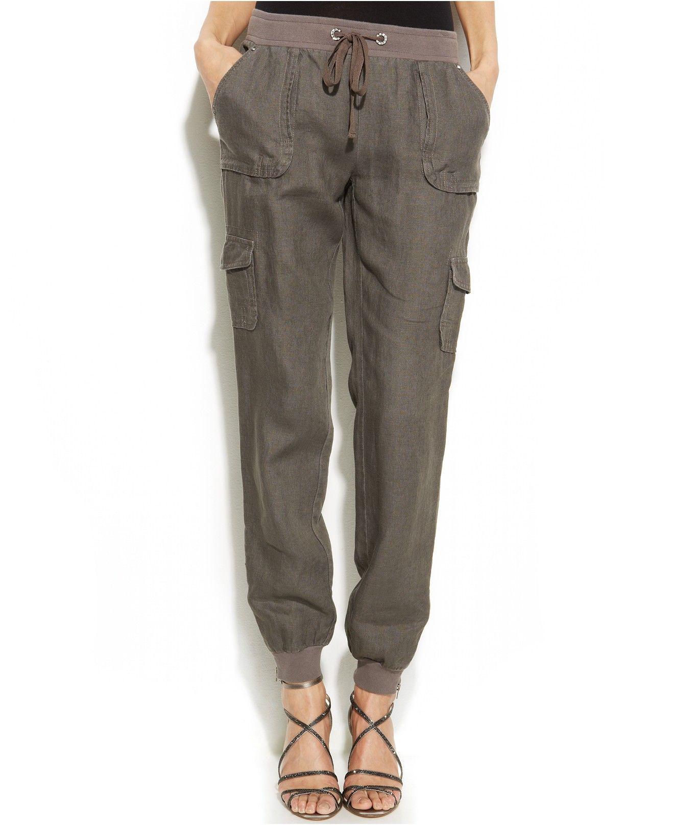 International Concepts Curvy-fit Linen Jogger Pants