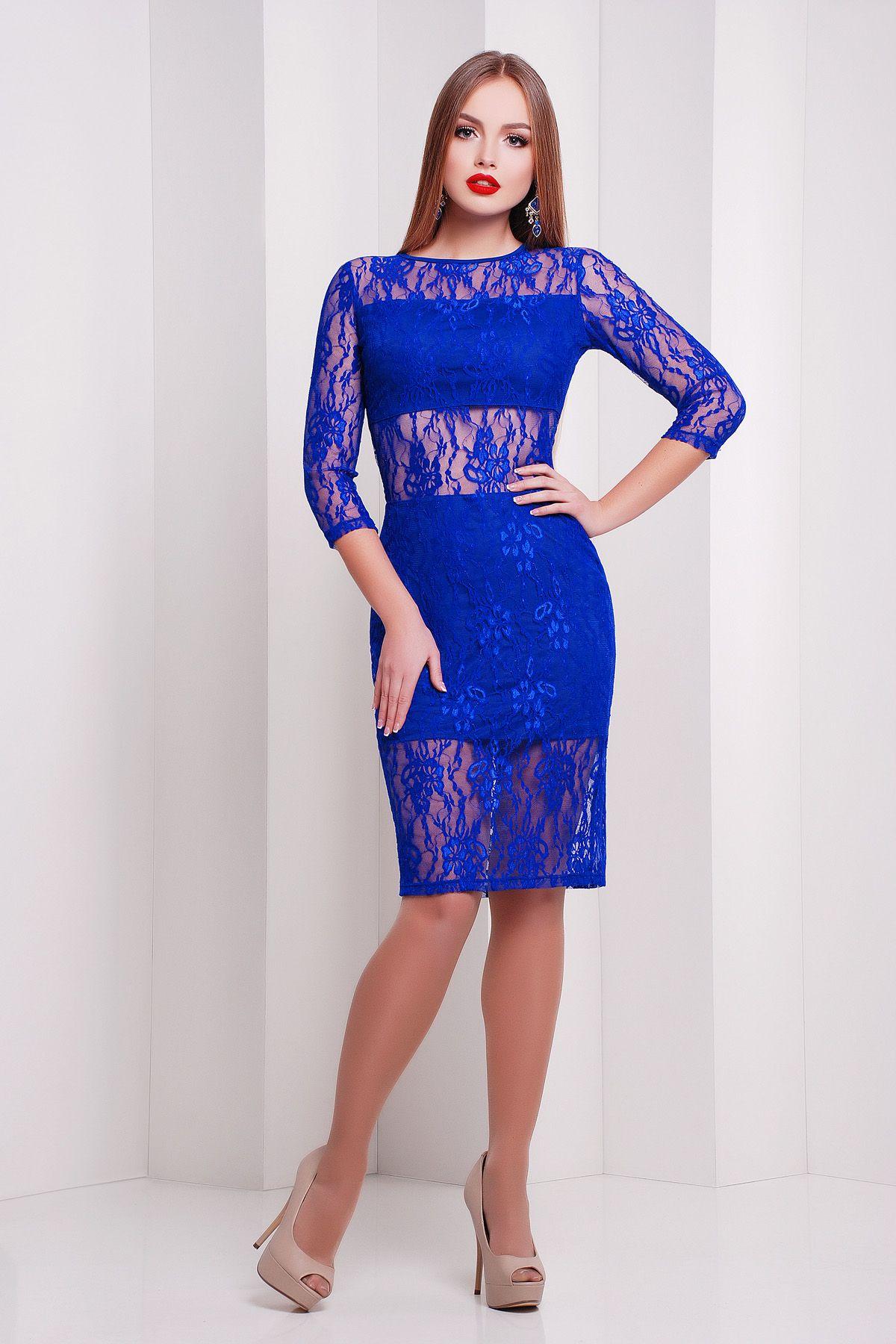 89c8a657c379076 Нарядное платье из гипюра синего цвета на сезон весна-лето Пасадена д/р.