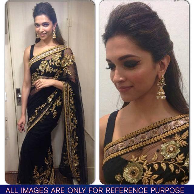 deepika-padukone-in-black-embroidery-saree.jpg (640×640) | Indian ...
