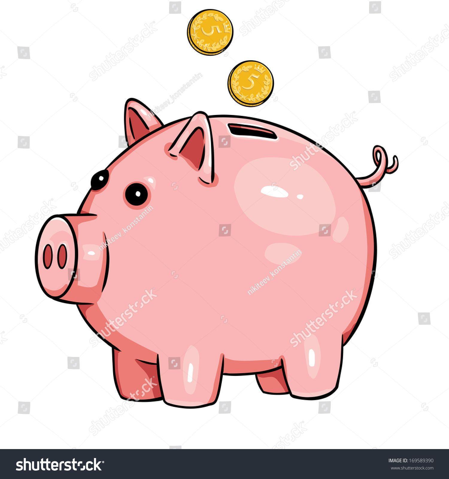 Vector Cartoon Piggy Bank Ad Affiliate Cartoon Vector Bank Piggy Character Sketches Cartoon Piggy