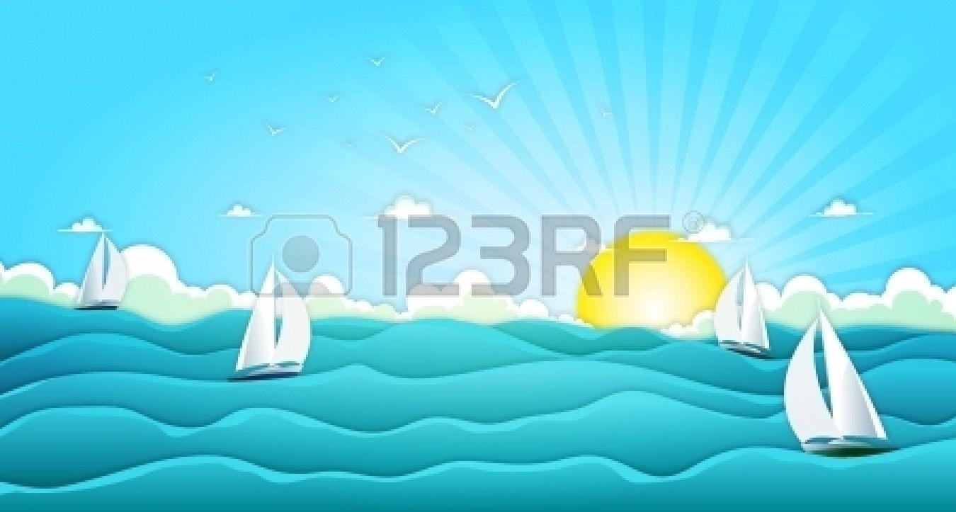 Ocean Waves Cartoon Ocean Landscape Waves Cartoon Holiday Vacations