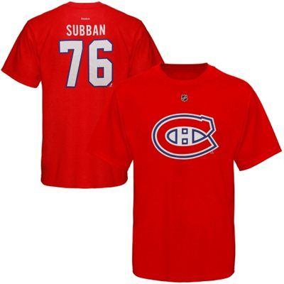 Mens Montreal Canadiens PK Subban Reebok Red Name   Number T-Shirt ... a53417c74