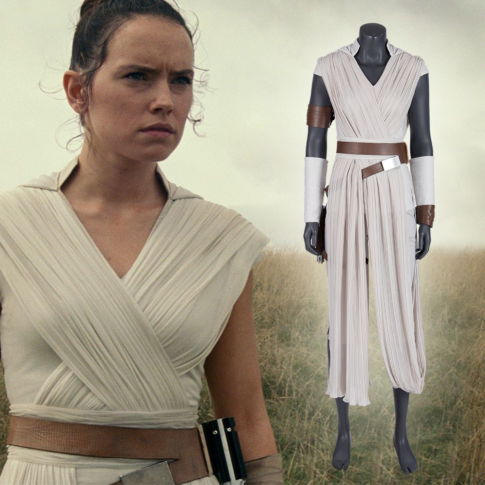 Women Star Wars The Force Awakens Rey Cosplay Costume Outfit Belt or Black Wig