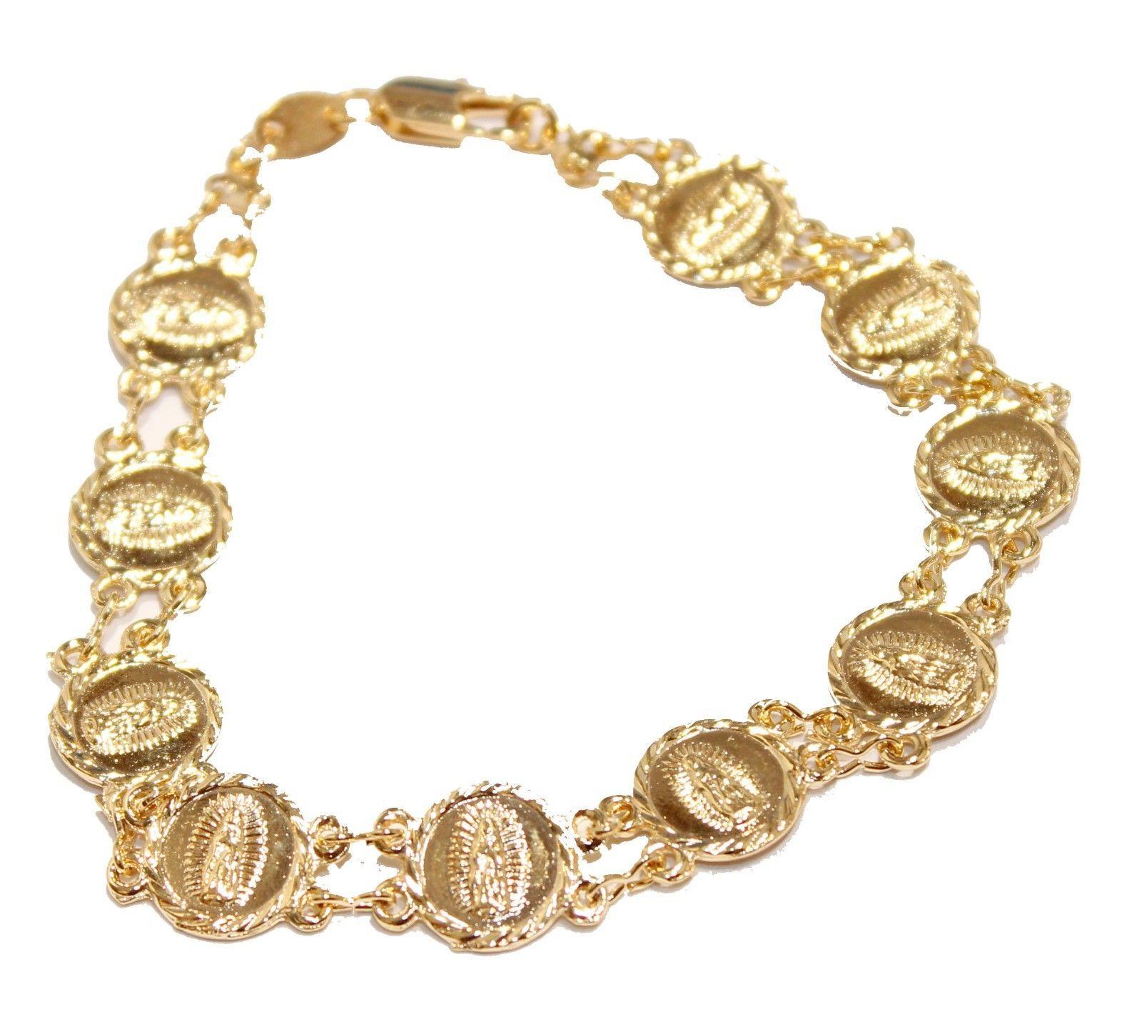 Virgen de guadalupe medal bracelet k gold plated bracelet inch