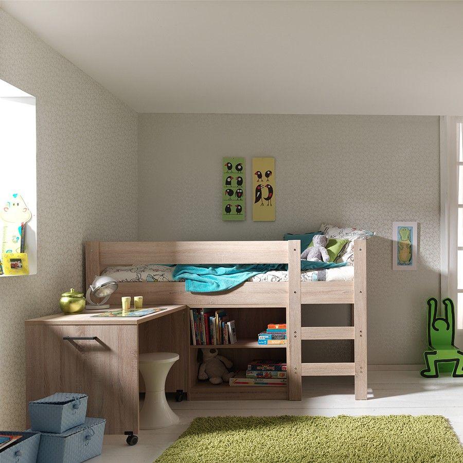 lit sur lev avec bureau et rangements alix coloris ch ne clair chambre l r lit sur lev. Black Bedroom Furniture Sets. Home Design Ideas