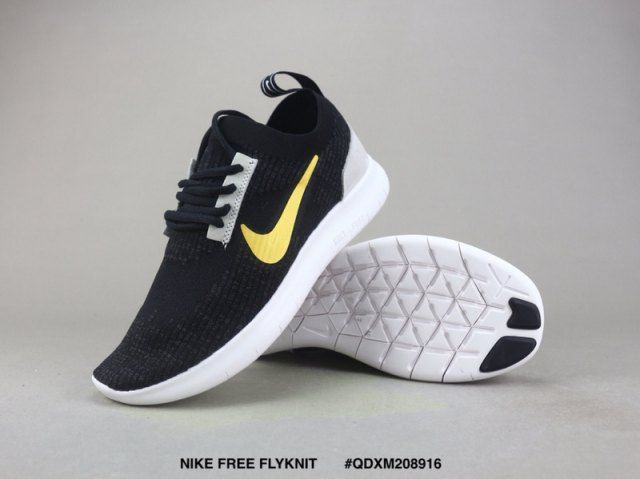 509ba3ba9b221 Mens Womens Nike Free RN Flyknit 2018 Black Gold White Grey Running Shoes