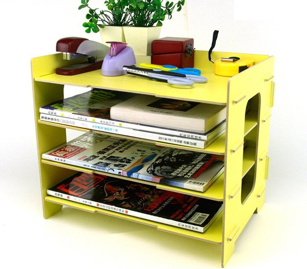 Desk File Letter Trays Storage Cabinet Box A4 Size Yellow S