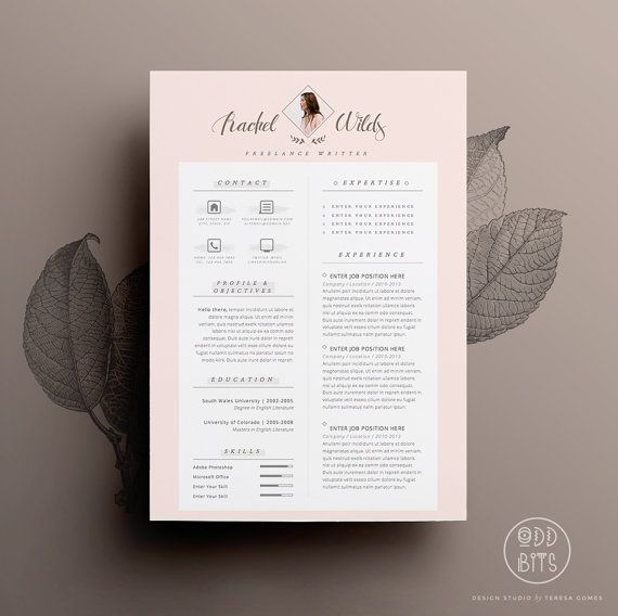 resume cv design cover letter template for word by oddbitsstudio