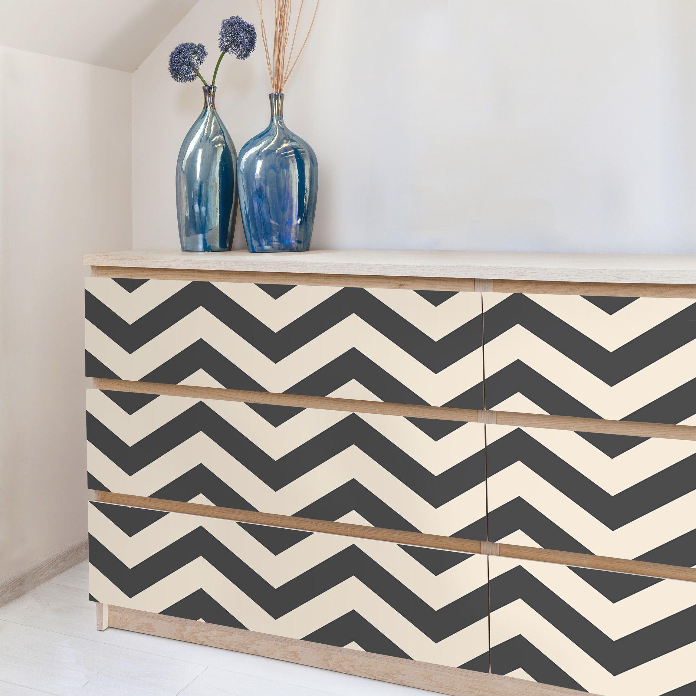 Carta Adesiva per Mobili - Zigzag stripe pattern crème ...