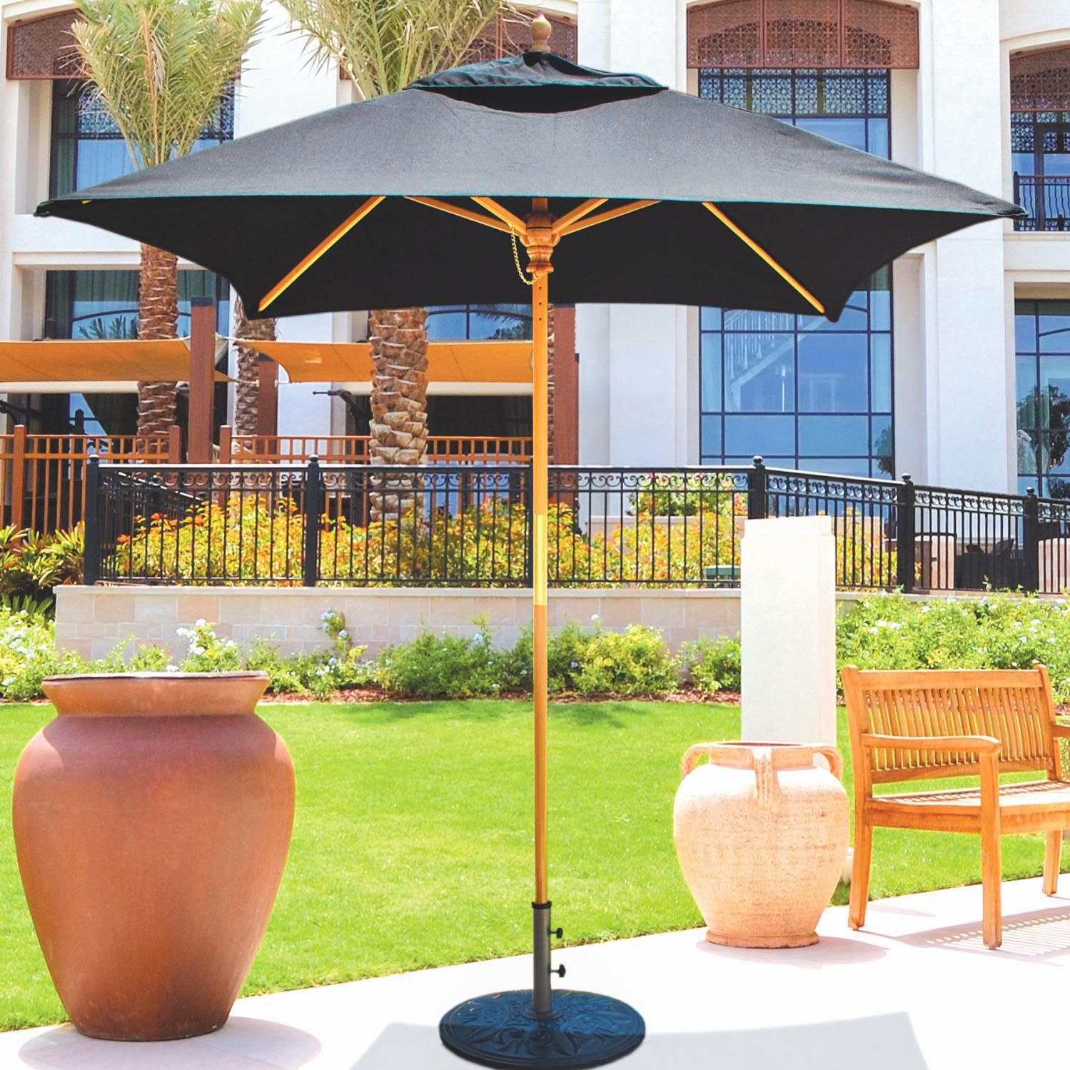 Galtech 6 Ft Wood Square Patio Umbrella With Manual Lift Light