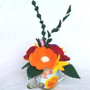 Hande made felt flower tea cup posy - tea cup arrangement. Made in NZ