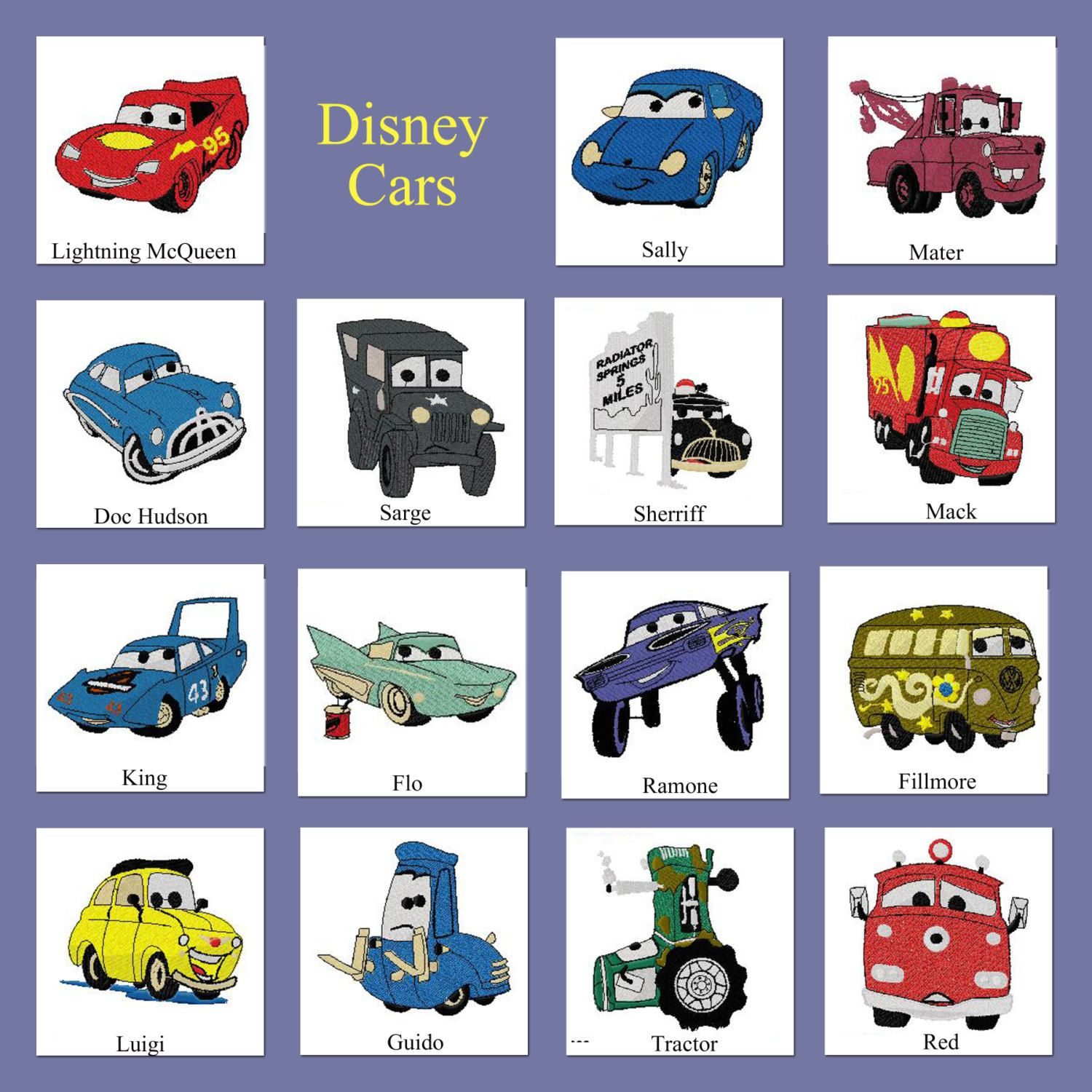 Disney Cars Embroidered Quilt Blocks Etsy Embroidered Quilts Disney Quilt Quilt Blocks