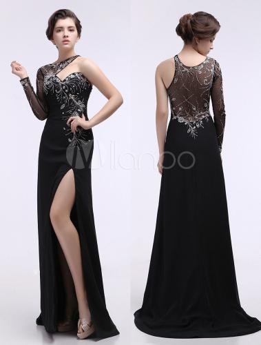 497c354fbce Vestido de fiesta de chifón negro de un solo hombro - Milanoo.com