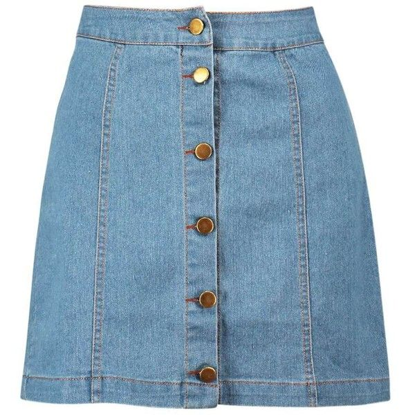 99b8df4964 Boohoo Hollie Button Front Denim Mini Skirt ( 26) ❤ liked on Polyvore  featuring skirts