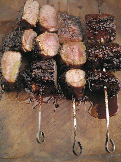 Blackened barbecued pork fillets