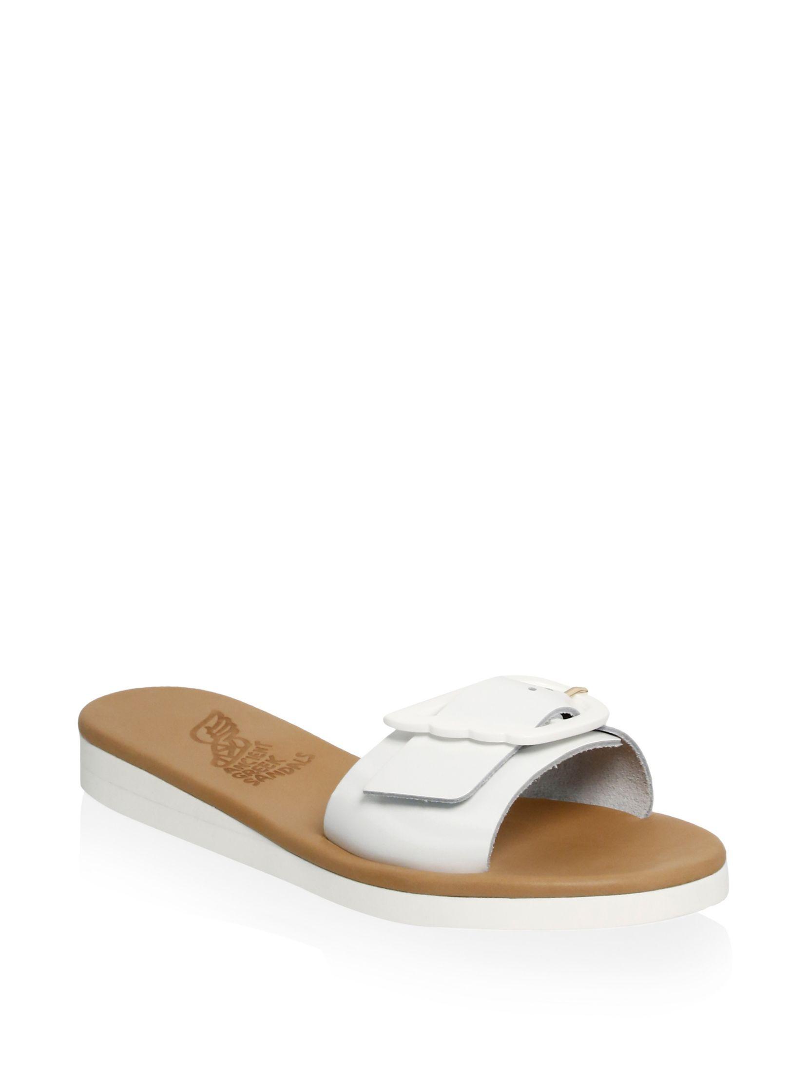 Ancient Greek Sandals Aglaia Buckle Leather Slide Sandals ybBZYbp