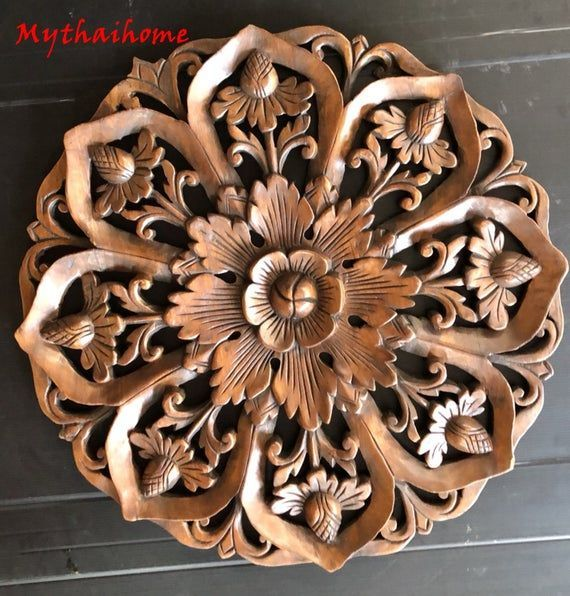 #Art #Bed #Boho #Brown #Carving #Craved #décor #flower #Hand #Headboard #Home #Lotus #Panel #Sculpture #Teak #Thai #Thick #Wall #White #Wood #wood art diy #wood art easy #wood art ideas #wood art painted #wood art projects #Wooden