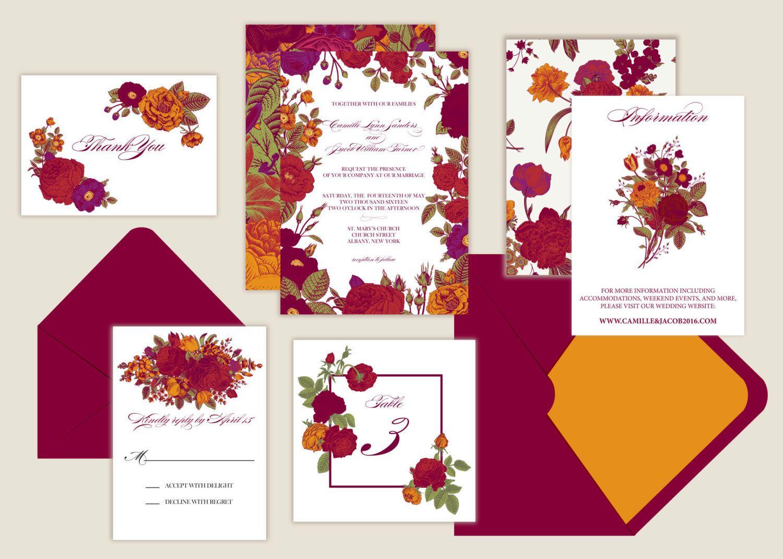 Marsala Floral Wedding Invitations - Botanical/Garden by ...