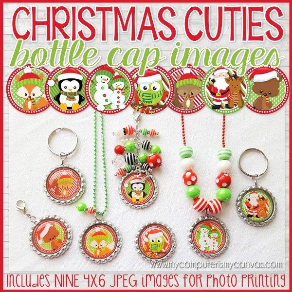 Looking for an easy, cute and inexpensive Christmas Craft - or a fun stocking stuffer? Bottle Cap crafts are inexpensive, easy to make and everyone loves them as key chains, zipper pulls and magnets or add beads for an extra special gift! These images can also be used for card making, scrapbooking, jewelry making, various camp/activity crafts, glass or resin pennants, magnets and tons more! ★ Perfect Party Favor for the Classroom! ★ Fun Christmas Craft Activity ★ Great Stocking Stuffer ...