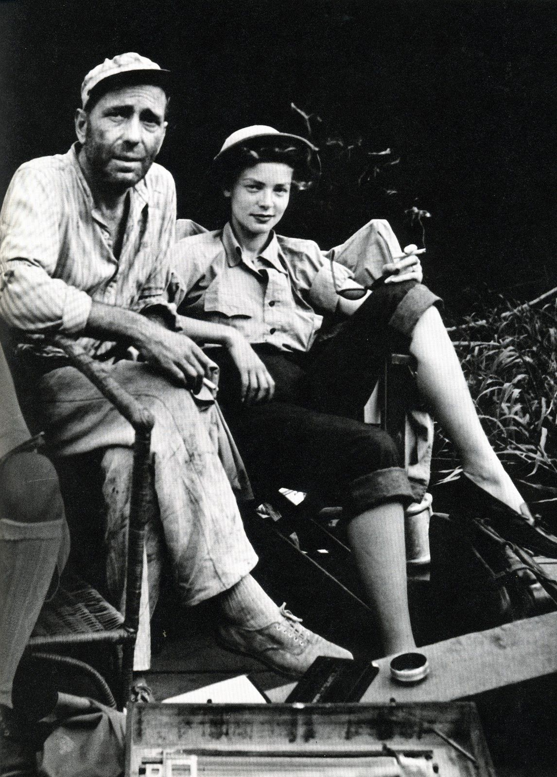 Love love love this photo of bogart and bacall and her style on the set of the african queen