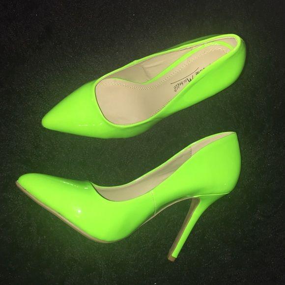 Stylish neon green heels. Bold, stylish, neon green heels in size 6, never worn. Anne Michelle Shoes Heels