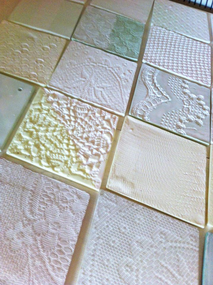 Firing diamond shaped tex-tiles #diamonshape #diamond #triangle #tiles #pastel #design #bathroom #textiles #transparant #white #translucent #porcelain #textiles #wall #decoration #led #imprint #relief #barbaravos #wallcovering #kitchen #shower #home #interior #design #glaze #backsplash #flower #pattern #coral #fabric #lace #texture