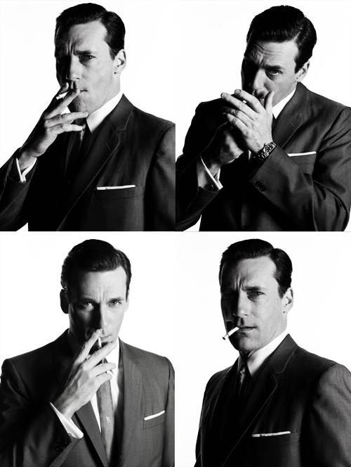 Jon Hamm/Don Draper. The many cool ways of his smoking habits