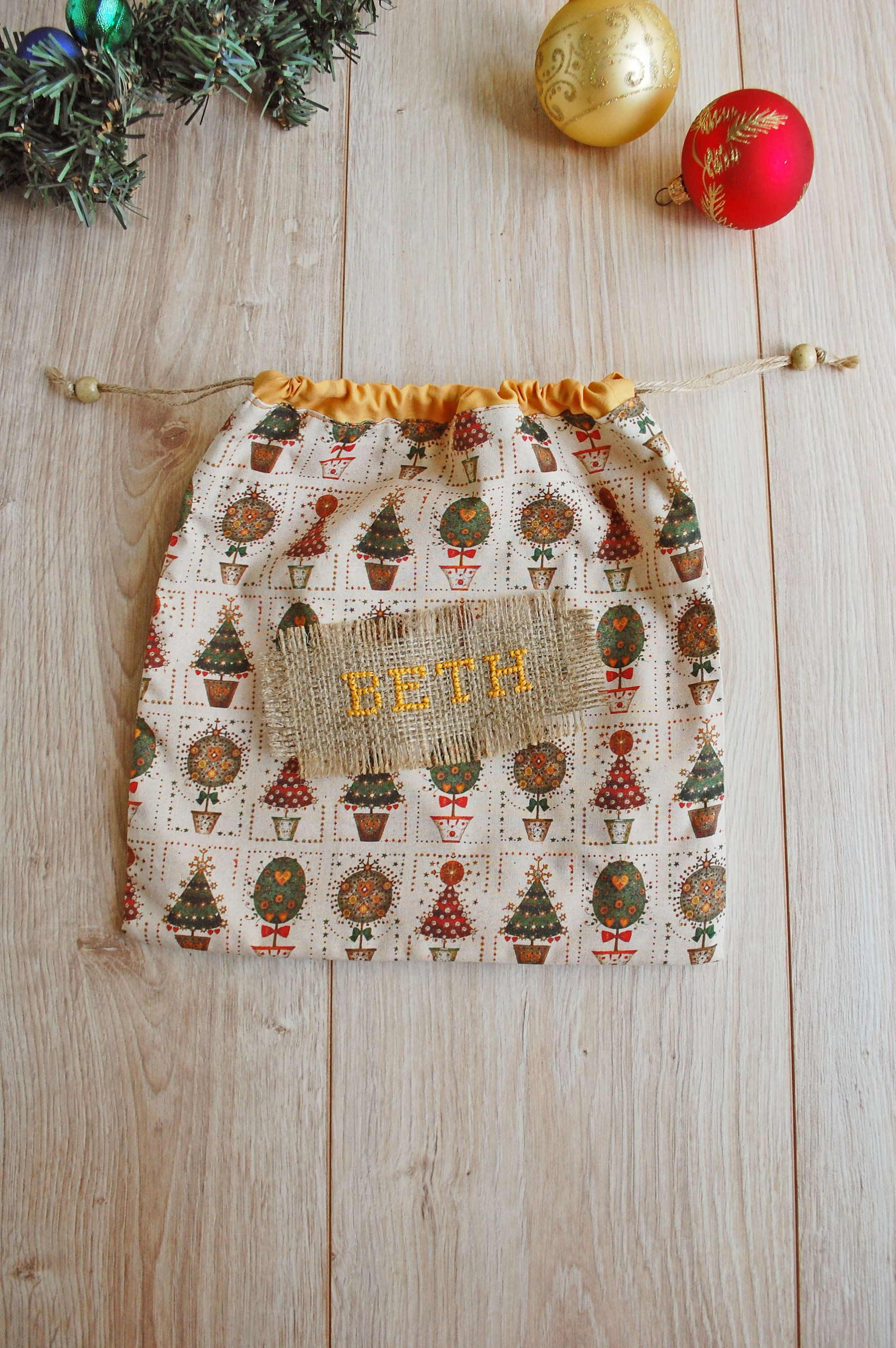 Ecofriendly Christmas Gift Wrapping Bag, Personalized Bag With Colorful Xmas