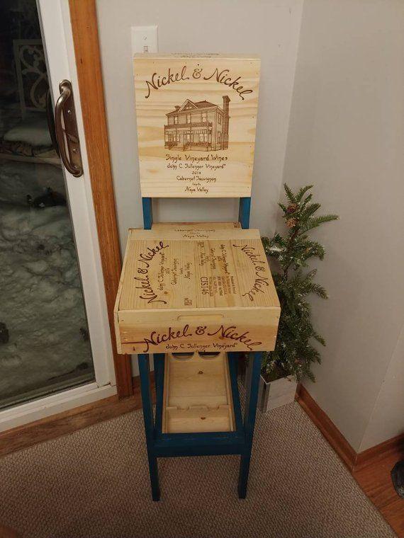 Wine Crate Bar Stool Ocean Blue Teal Rack Storage Wabi Sabi Decor Wooden Furniture E