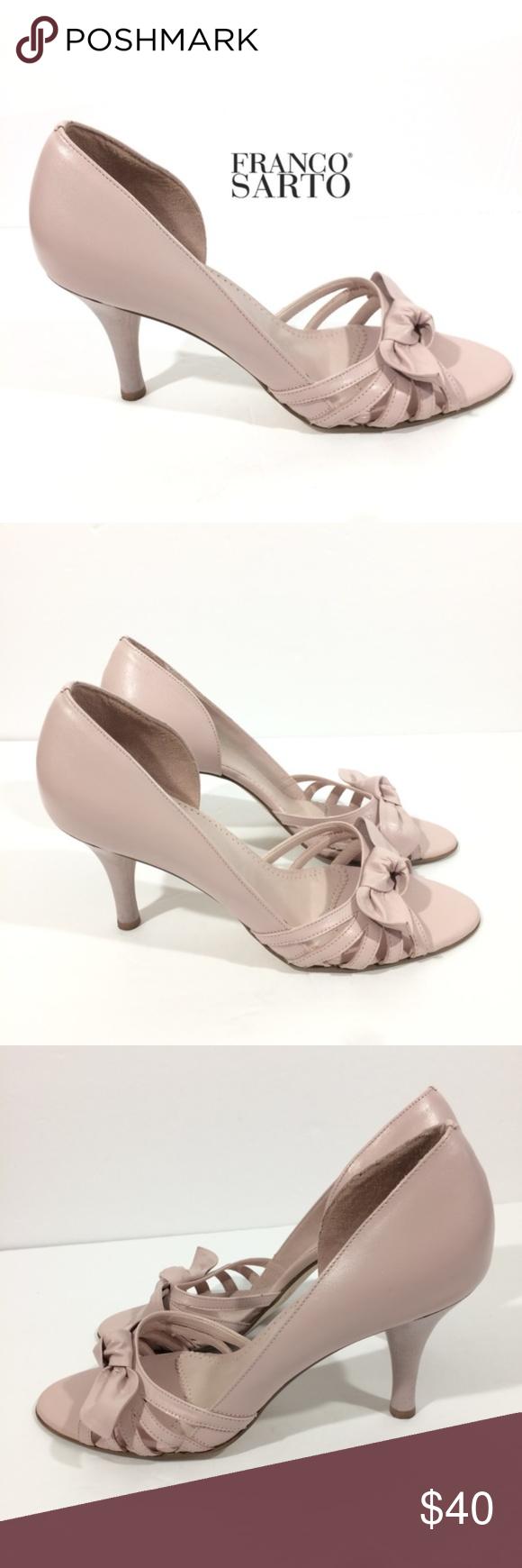 Franco Sarto Blush Pale Pink Bows Kitten Heel 9 Franco Sarto Blush Pale Rockabilly Kitten Heels Heels Pink Shoes