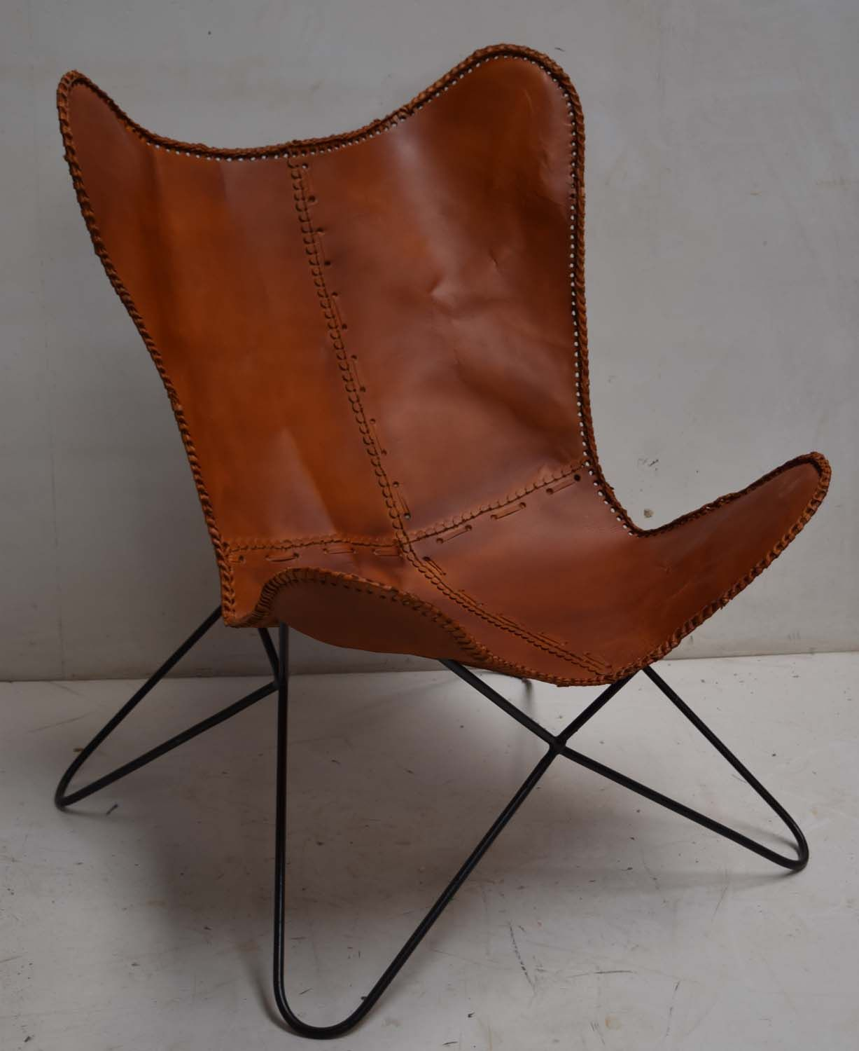 Factory caster vintage industrial furniture - Vintage Industrial Leather Butterfly Chair Industrial Loft Modern Furniture Factory Jodhpur India