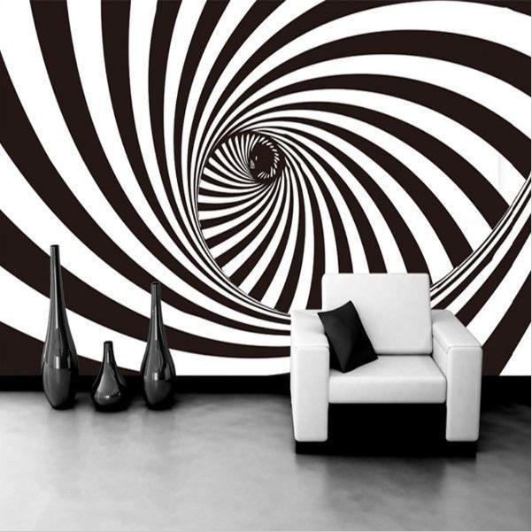 3d Zebra Stripes Swirl Modern Abstract Wallpaper Mural Mural