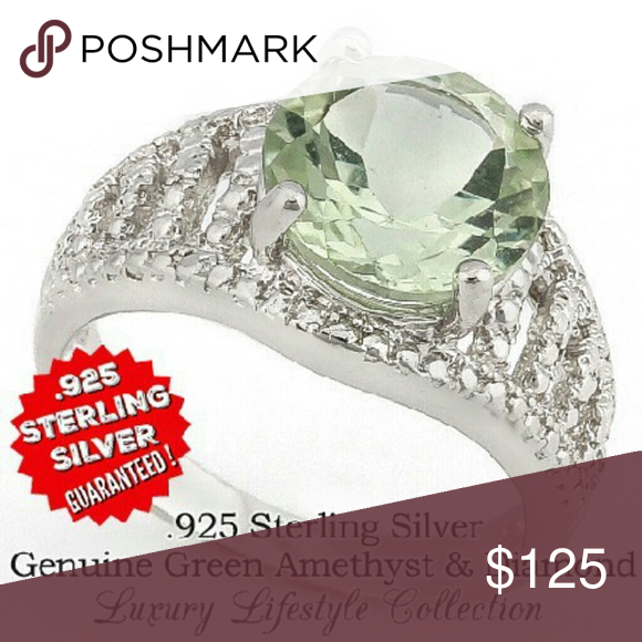 5.83ctw Genuine Green Amethyst w/Diamonds. MSRP: $699 Brand: Glamouresq Material: Sterling Silver Condition: New Size: 8 Color: Green   Always open to offers and bundling deals!  This Gorgeous Handmade Ring is Crafted in Solid .925 Sterling Silver and layered with 18K White Gold for Durability. The ring contains 5.83ctw Genuine Green Amethyst and Genuine Diamond. Total weight for this Ring is 3.17 grams. Glamouresq Jewelry Rings