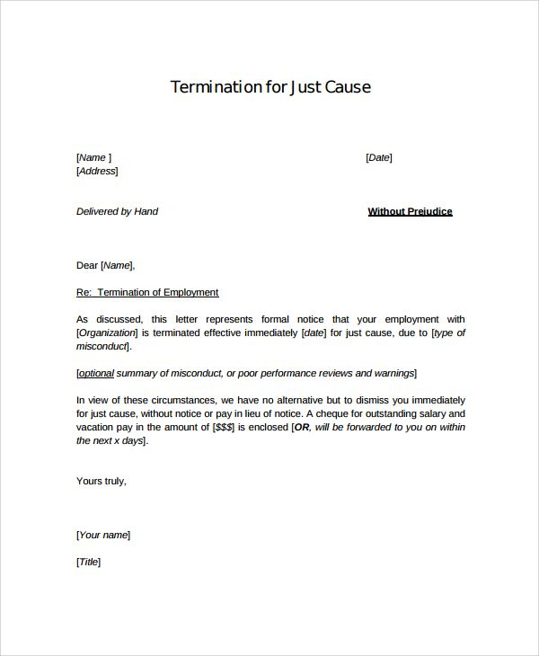 sample employment termination letter documents pdf word template - letter termination