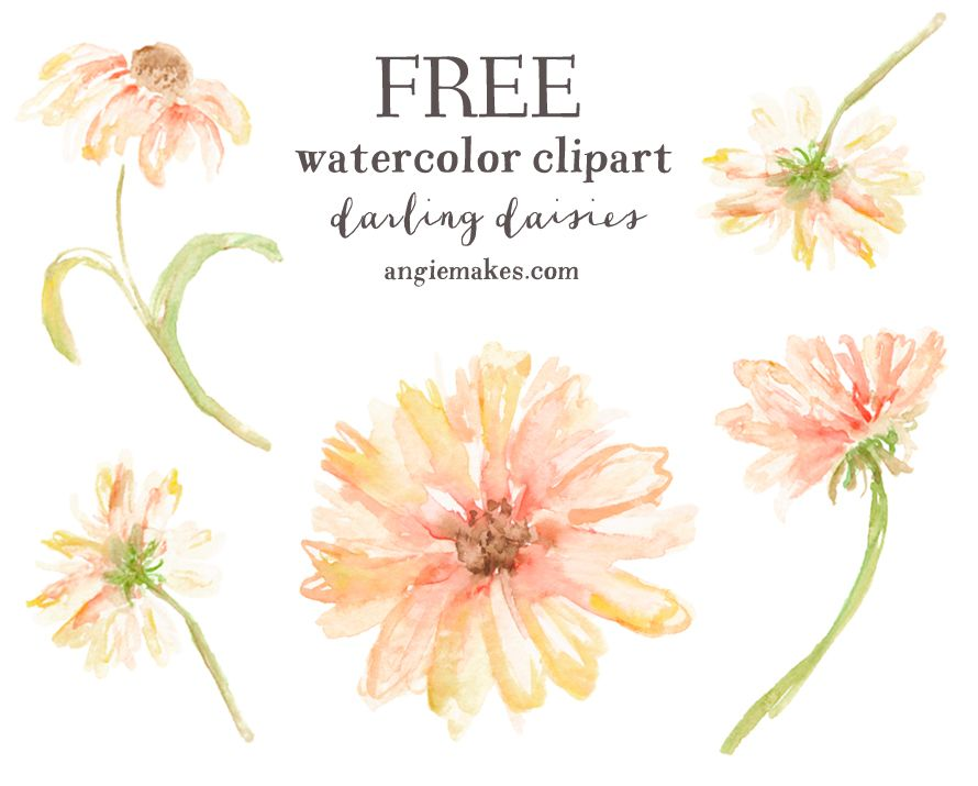 Free Watercolor Clip Art Daisies Free Watercolor Flowers Clip