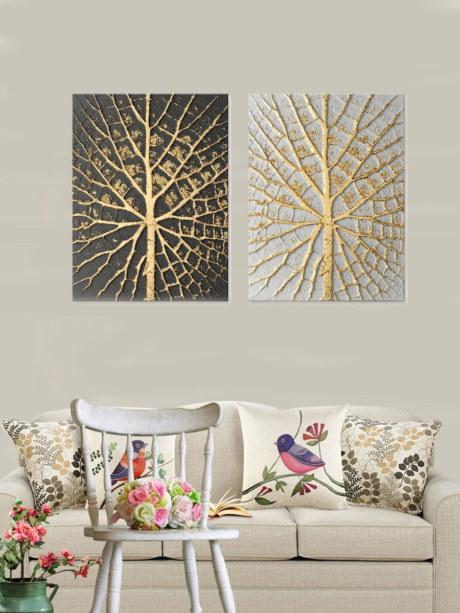 Branch Pattern Wall Art 2pcs Shein Sheinside Decor Wall Patterns Home Decor Wall Art