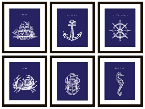 Nautical Nursery? 6 Nautical Navy Blue Art Prints ANY color by PrintsofBeauty, $25.00