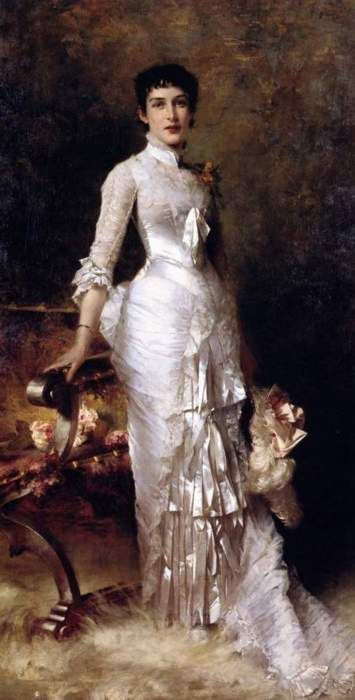 Young Beauty in a White Dress by Julius LeBlanc Stewart, 1870's-1880's