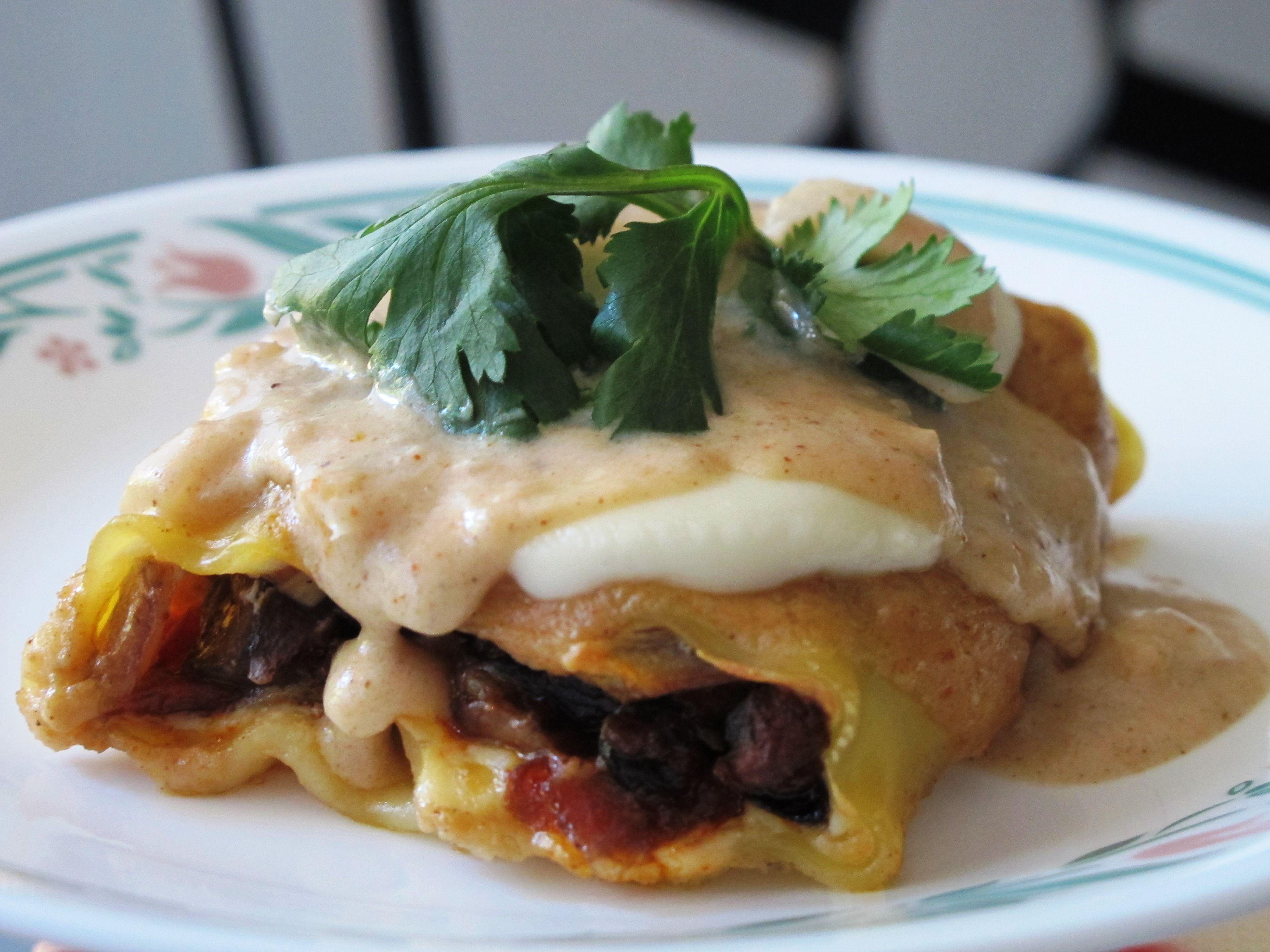Mushroom and Soy Chorizo Lasagna Roll-ups