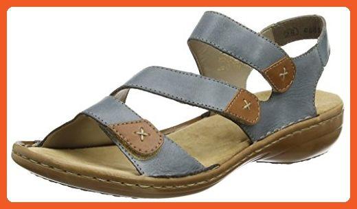 Rieker Women's Regina 60839 White Denim Leather Sandals 10 B(M) US - Sandals