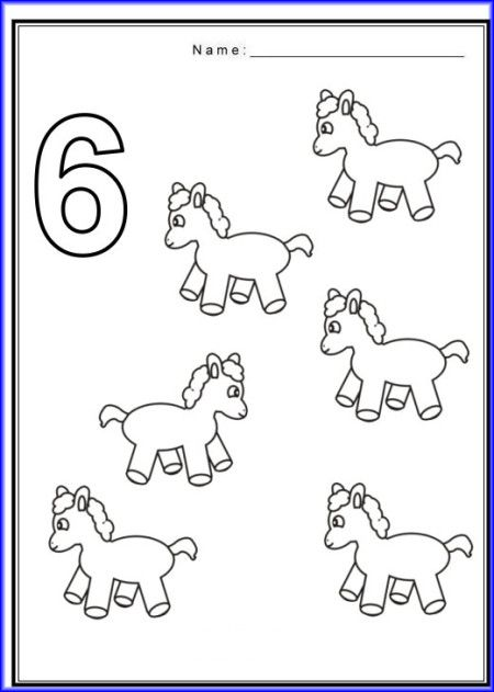 Number 6 Worksheet For Preschool Printables Worksheets For Kids Horse Coloring Pages Horse Coloring Coloring Pages