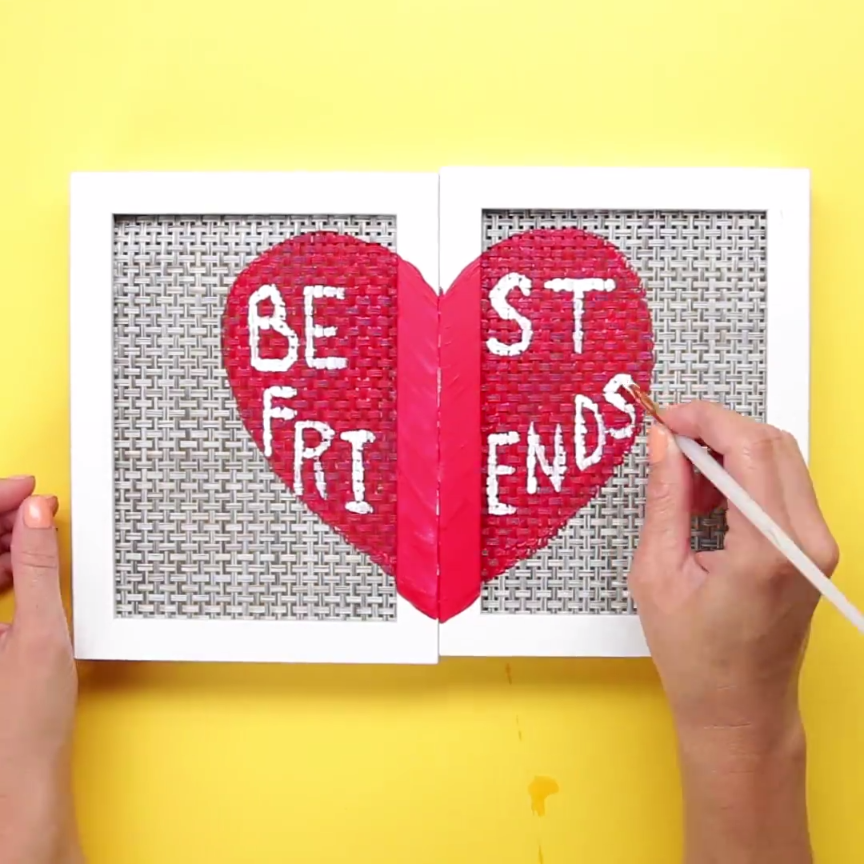 This bff jewelry organizer shows off your favorite pins for Easy presents to make for friends