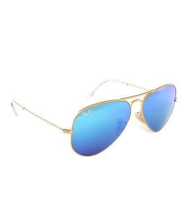 Loving this Blue & Matte Gold Flash Lens Aviators on #zulily! #zulilyfinds
