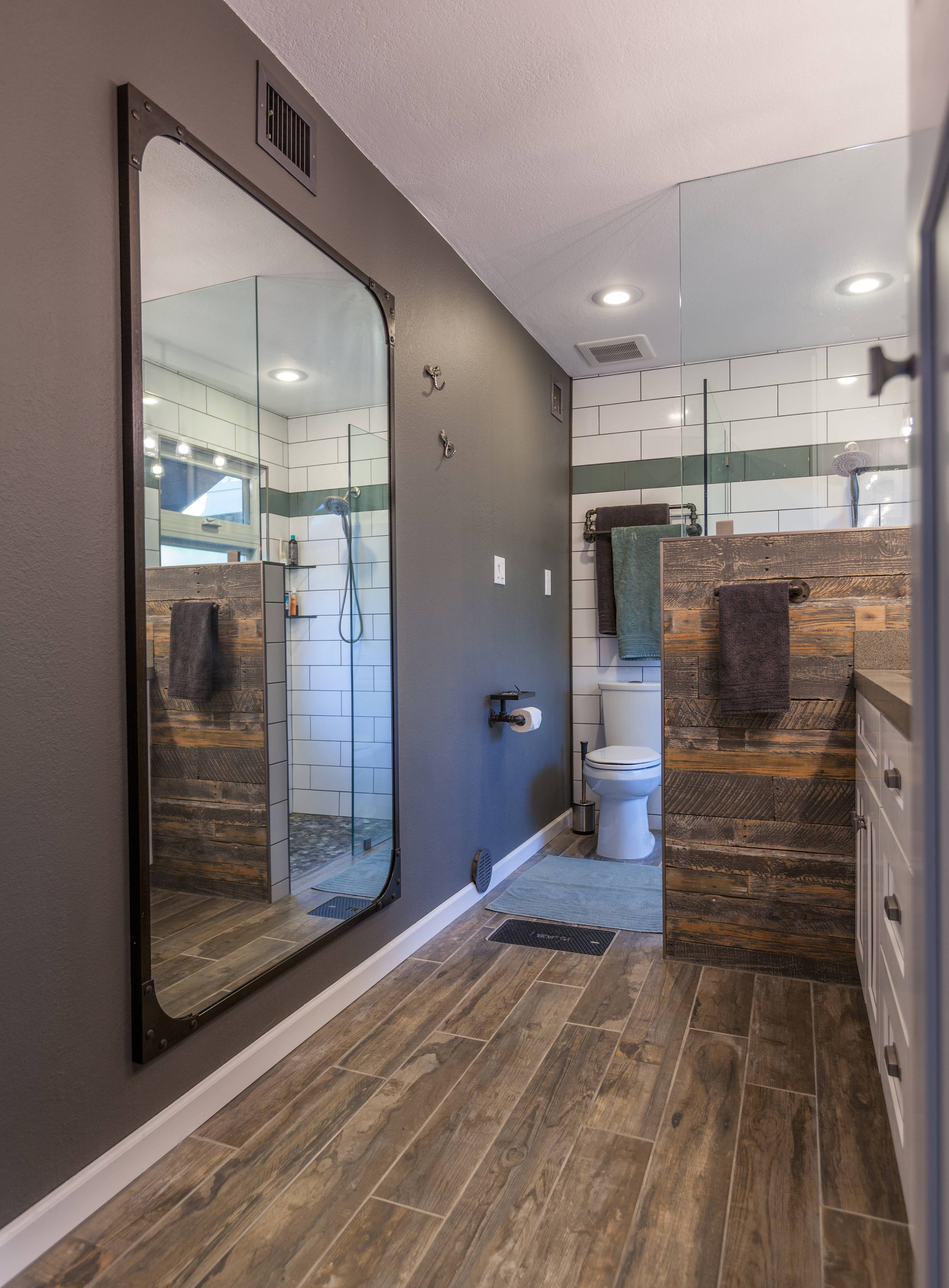 Love This Industrial Bathroom Remodel With Plenty Of Warm, Natural