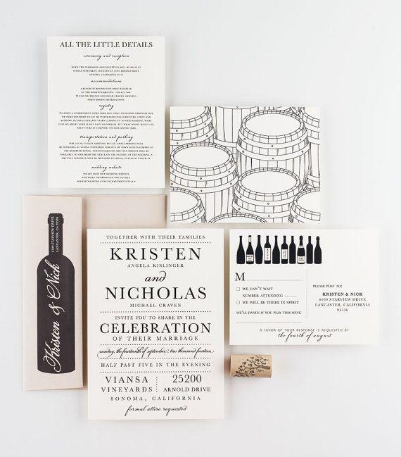 Vineyard Wine Wedding Invitation Collection Tasting