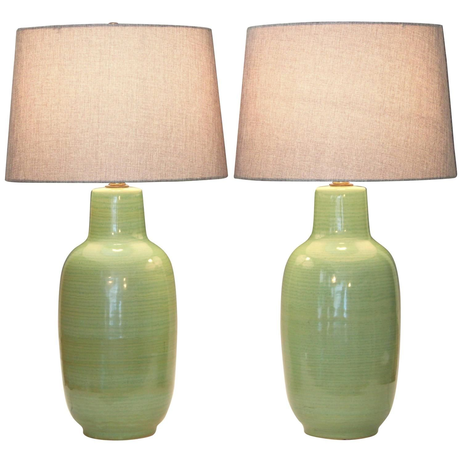 Pair Of Vintage Celadon Green Flambe Studio Pottery Lamps From A Unique Vintage Table Lamp Lamp Pottery Lamp